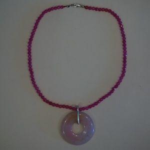 """16"""" Genuine Agate & Rose Quartz Necklace"""